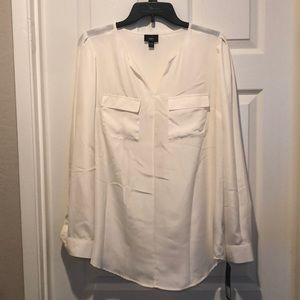Missing satin ivory blouse